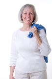 Senior Lady In White Casual Stock Photos