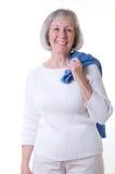 Senior Lady In White Casual Stock Photos