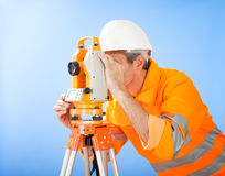 Senior land surveyor with theodolite Stock Photography