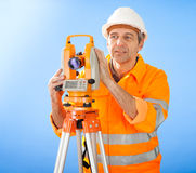 Senior land surveyor with theodolite Royalty Free Stock Photography