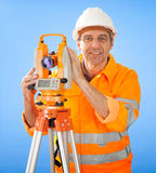 Senior land surveyor with theodolite Stock Photos