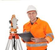 Senior land surveyor with theodolite Royalty Free Stock Images