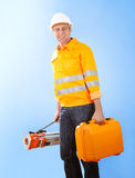 Senior land surveyor with theodolite equipment Stock Image
