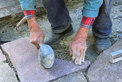 Senior landscape gardener fitting a flagstone tile with a rubber Royalty Free Stock Photography