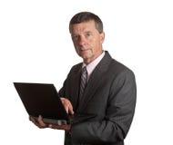 Senior with laptop Stock Image