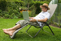 Senior on laptop Royalty Free Stock Photo