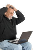 Senior with laptop computer Royalty Free Stock Photos