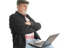 Senior with laptop computer Stock Photos