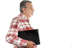 Senior with laptop computer Stock Images