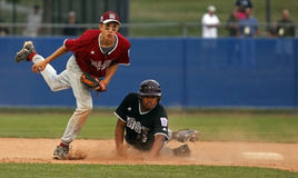 Senior league baseball world series maine jersey. BANGOR, MAINE - AUGUST 18: Seth Freudenberger of Maine District 3 (Bangor East/West L.L.) leaps out of the way Stock Photo