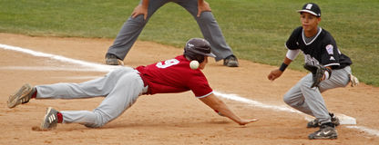 Senior league baseball world series pickoff Royalty Free Stock Photos