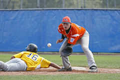 Senior league baseball world series pickoff Royalty Free Stock Image