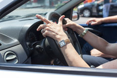 Senior learning to drive a car Royalty Free Stock Photos