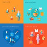 Senior Lifestyle Flat. Senior lifestyle design concept set with healthy aging older people wealth old people health care flat icons isolated vector illustration Royalty Free Stock Image