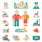Senior Lifestyle Flat Icons Set Royalty Free Stock Photos