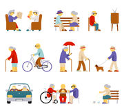Senior lifestyle icons. Man and woman elderly, senior people, couple person, play card, feeding pigeon, babysit and watch tv. Vector illustration Royalty Free Stock Image