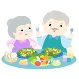 Senior love eating fresh vegetable  illustration Royalty Free Stock Photos