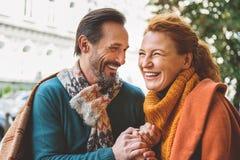 Senior lovers enjoying date outside Royalty Free Stock Photos