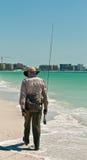 Senior, męski kipiel rybaka odprowadzenie Zdjęcia Stock