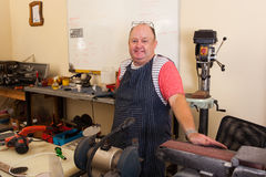 Senior machinist workshop Royalty Free Stock Photo
