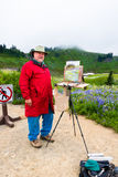 Senior Male Artist Painting Nature stock photos