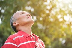 Free Senior Male Breathing Fresh Air. Stock Images - 114655924