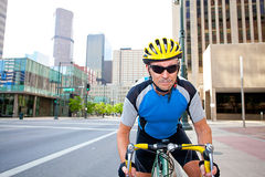 Senior male cycling Stock Photography