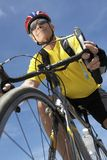 Senior Male Cyclist Riding Bicycle Stock Image