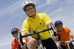 Senior Male Cyclists Racing Stock Photo