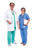 Senior male doctor posing with female nurse Royalty Free Stock Photo