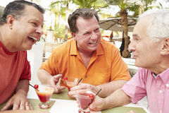 Senior Male Friends Enjoying Cocktails In Bar Together Stock Photography