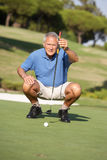 Senior Male Golfer On Golf Course Stock Photos