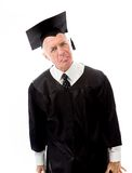 Senior male graduate reacted after listening bad news Royalty Free Stock Images