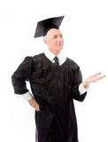 Senior male graduate representing something isolate on white bac Stock Photography
