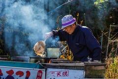 Senior male at Lake Kawaguchiko in Japan Royalty Free Stock Photography