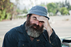 Senior Male Model Shielding His Eyes Stock Photos