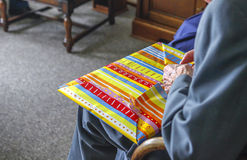 Senior male opening present Stock Image