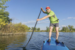 Senior male paddler on paddleboard royalty free stock photography