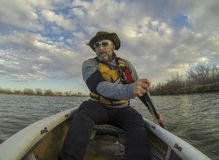 Canoe paddling Royalty Free Stock Photography