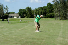 Senior Male Playing Golf Stock Photography