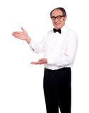 Senior male representing copy space Royalty Free Stock Images