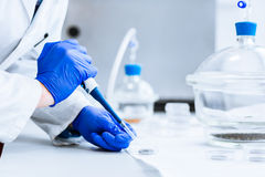 Senior male researcher carrying out scientific research in a lab. (shallow DOF; color toned image Stock Image