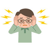 Senior male suffering from tinnitus Royalty Free Stock Images