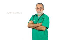 Senior male surgery operator doctor with green uniform standing isolated on white Stock Images