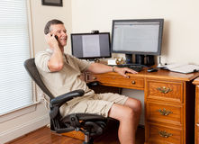 Senior male working in home office Royalty Free Stock Photos