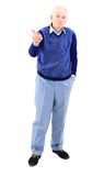 Senior man. Full length of a happy mature man showing a thumbs up on white Stock Image