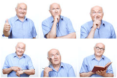 Senior man acting differently for each photo Stock Photos