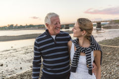 Senior father With Adult Daughter At Sea. A Senior Man With Adult Daughter At Sea Stock Images