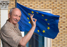 Senior man against the European Union Flag Stock Image