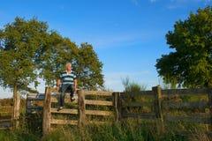 Senior man on fence Stock Image
